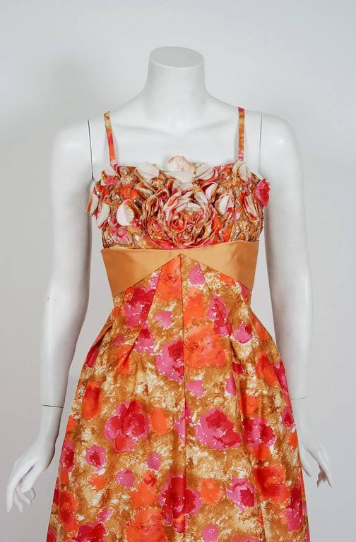 With its vivid rose-garden watercolor floral print and flawless