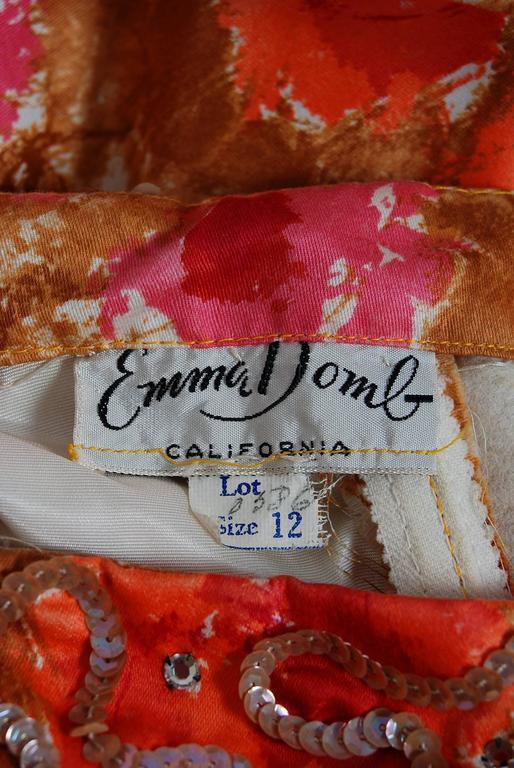 Vintage 1950's Emma Domb Rose-Garden Floral Cotton & Satin Applique Sequin Gown For Sale 1