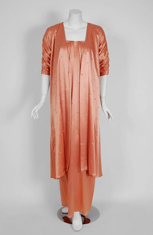 Orange 1970's Holly's Harp Rhinestone Peach Satin Strapless Gown & Ruched Jacket Set