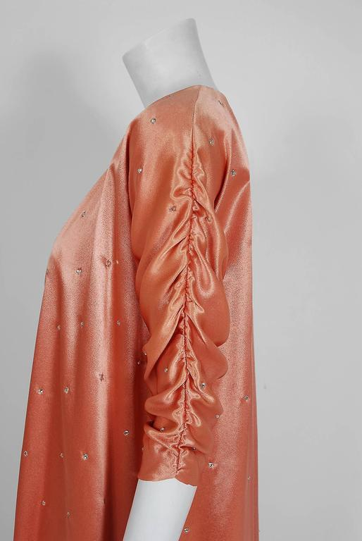 1970's Holly's Harp Rhinestone Peach Satin Strapless Gown & Ruched Jacket Set In Excellent Condition In Beverly Hills, CA