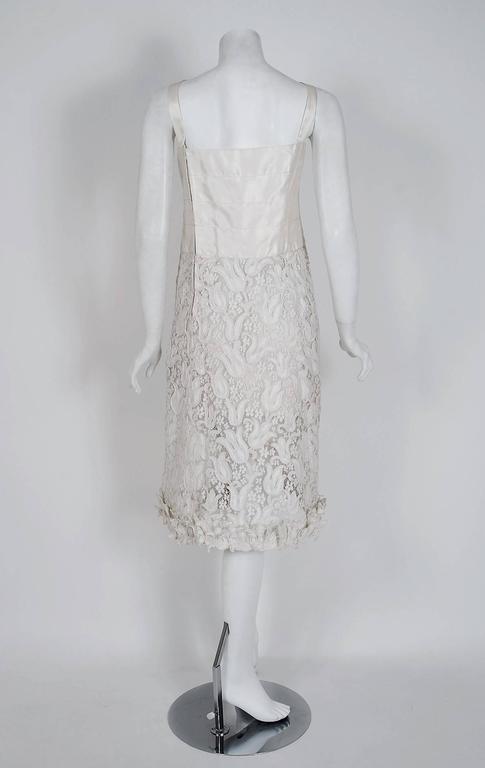 1966 Chanel Haute-Couture White Tulip Novelty Lace & Satin Party Dress Ensemble 8