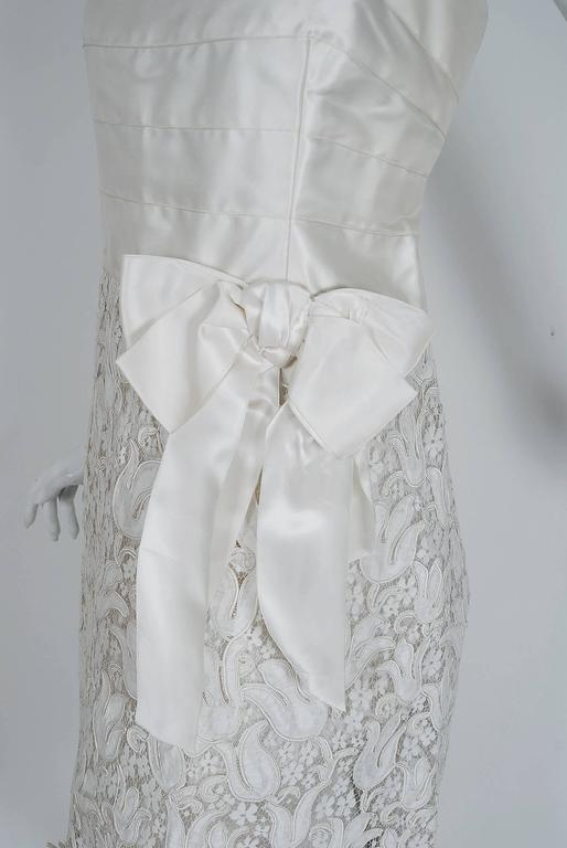 1966 Chanel Haute-Couture White Tulip Novelty Lace & Satin Party Dress Ensemble 6