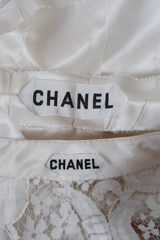 1966 Chanel Haute-Couture White Tulip Novelty Lace & Satin Party Dress Ensemble 9