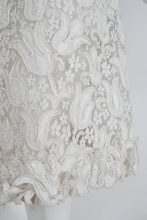 1966 Chanel Haute-Couture White Tulip Novelty Lace & Satin Party Dress Ensemble 7
