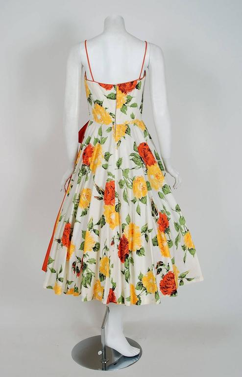 1950 S Julie Miller Orange And Yellow Roses Floral Print