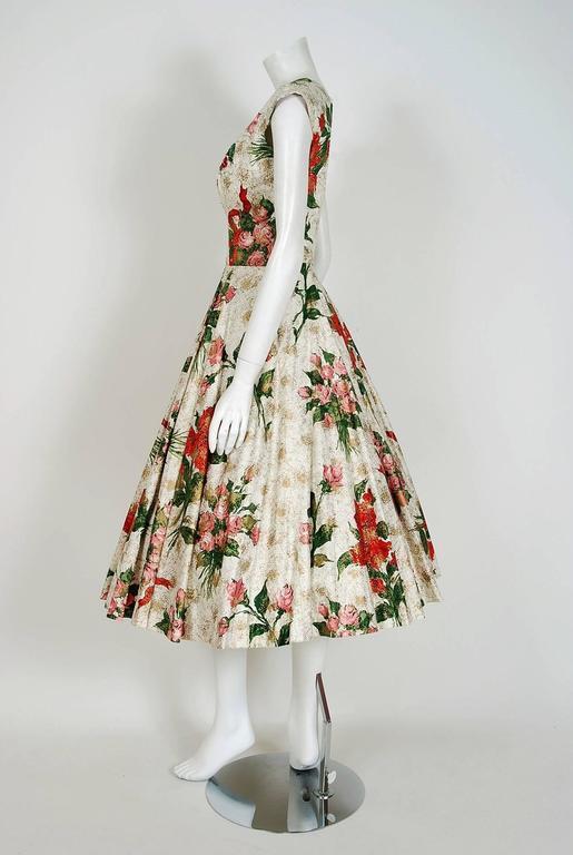 Women's 1950's Metallic Rose-Garden Floral Print Beaded Sequin Cotton Full-Skirt Dress For Sale