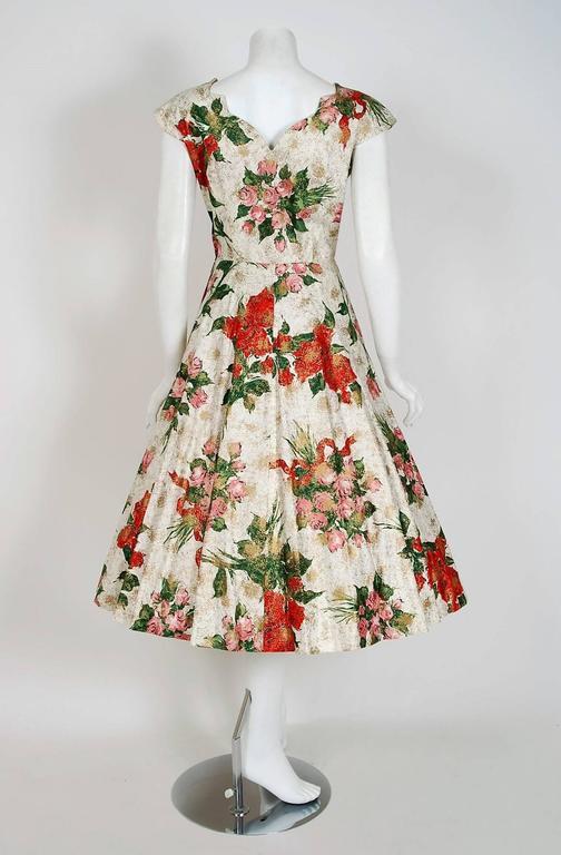 1950's Metallic Rose-Garden Floral Print Beaded Sequin Cotton Full-Skirt Dress For Sale 1