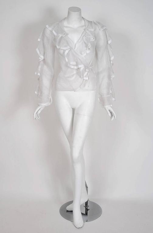 1968 Ossie Clark Documented White Organdy Flounced Ruffle Wrap Dress Blouse  3