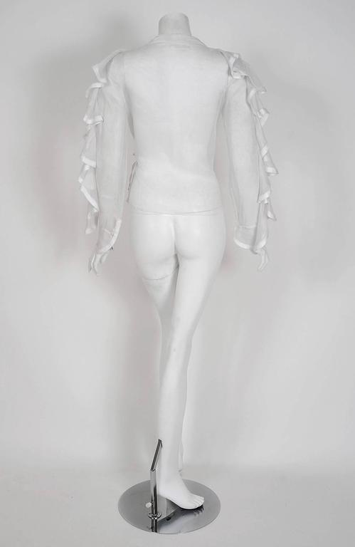 1968 Ossie Clark Documented White Organdy Flounced Ruffle Wrap Dress Blouse  6