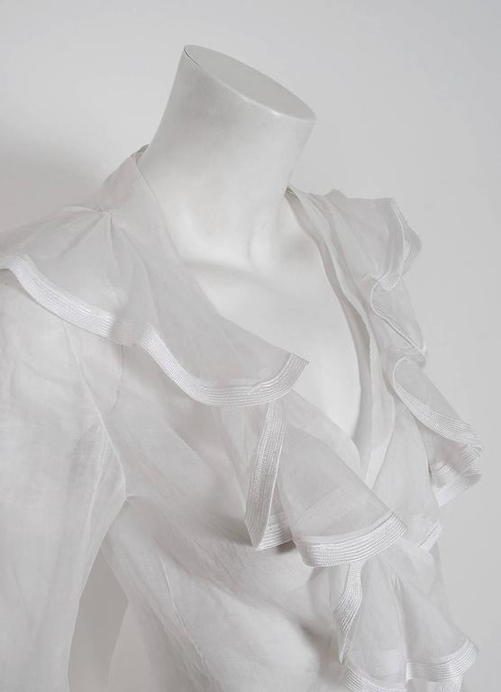 1968 Ossie Clark Documented White Organdy Flounced Ruffle Wrap Dress Blouse  In Excellent Condition For Sale In Beverly Hills, CA