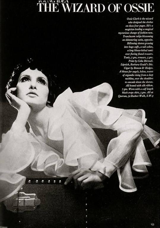 1968 Ossie Clark Documented White Organdy Flounced Ruffle Wrap Dress Blouse  2