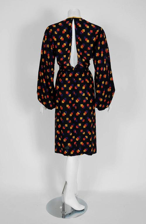 Black 1970's Galanos Colorful Graphic Deco Print Silk Billow-Sleeves Cocktail Dress For Sale