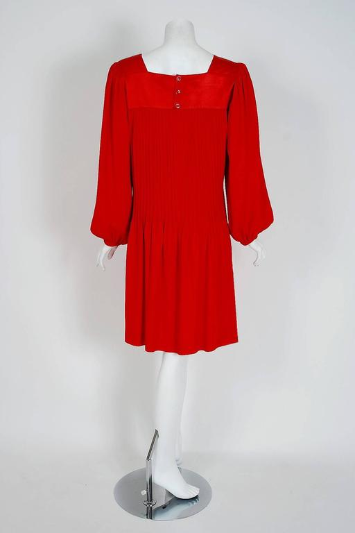 1970's Yves Saint Laurent Ruby-Red Pleated Crepe & Satin Billow-Sleeve Dress 4