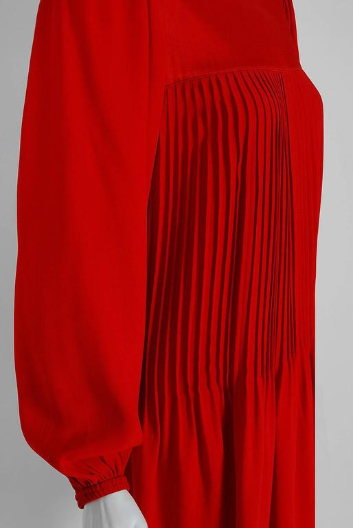 1970's Yves Saint Laurent Ruby-Red Pleated Crepe & Satin Billow-Sleeve Dress 3