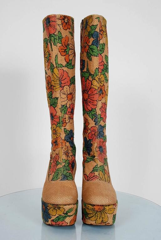 1970's Colorful Floral-Garden Print Barkcloth Knee-High Platform Hippie Boots 3