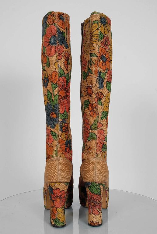 1970's Colorful Floral-Garden Print Barkcloth Knee-High Platform Hippie Boots 5