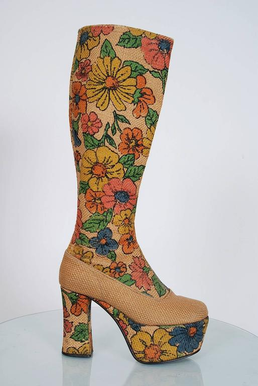 1970's Colorful Floral-Garden Print Barkcloth Knee-High Platform Hippie Boots 2
