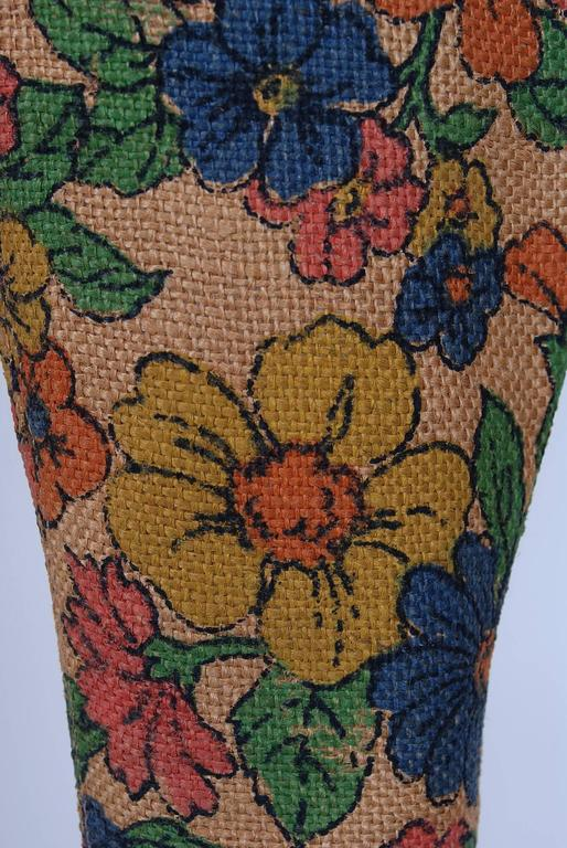 1970's Colorful Floral-Garden Print Barkcloth Knee-High Platform Hippie Boots 4