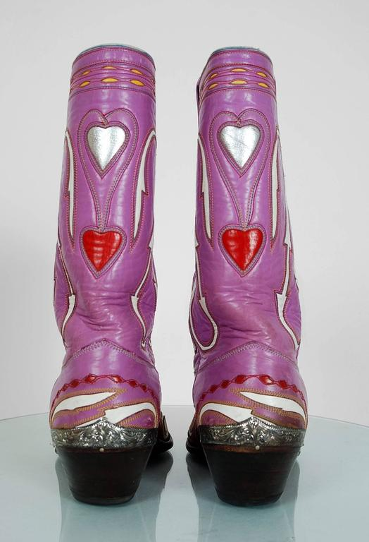 1950's Rare Nudie's Rodeo Tailor Novelty Hearts Purple Red Leather Cowboy Boots For Sale 1