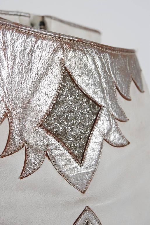 1970 S White Leather And Silver Glitter Novelty Capricorn