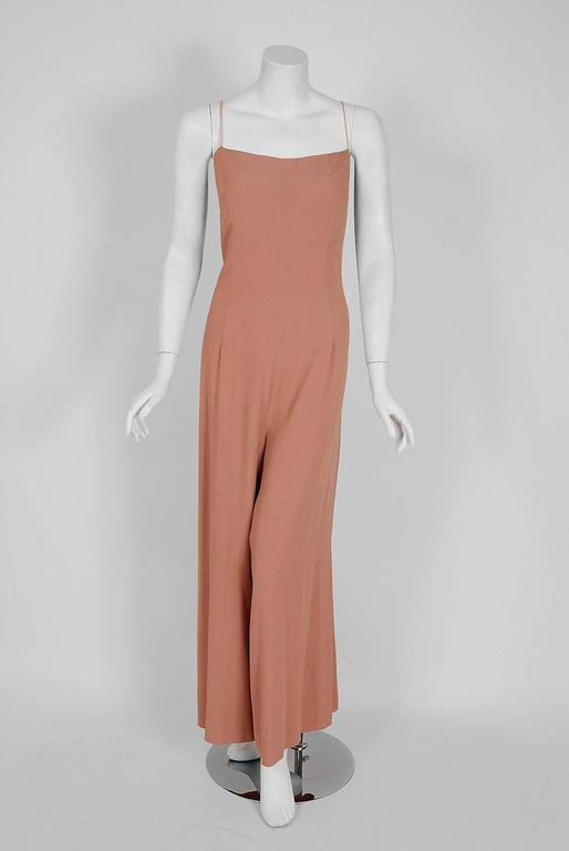 Women's 1970 Molyneux Haute-Couture Metallic Floral Lace & Crepe Bell-Sleeve Jumpsuit For Sale