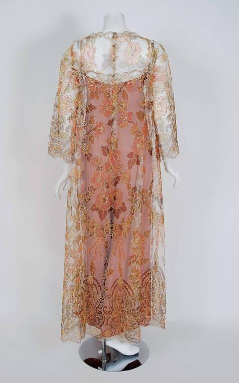 1970 Molyneux Haute-Couture Metallic Floral Lace & Crepe Bell-Sleeve Jumpsuit For Sale 1