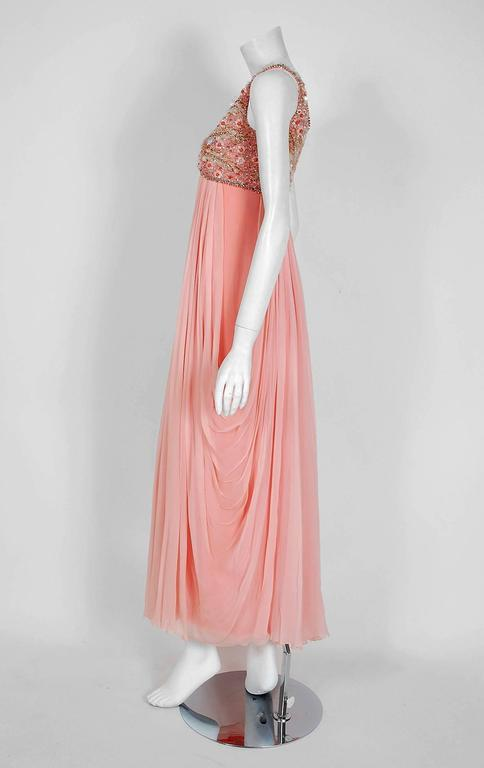 Women's 1960's Helen Rose Beaded Rhinestone Pink Chiffon Draped Grecian Goddess Dress For Sale