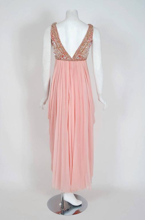 1960's Helen Rose Beaded Rhinestone Pink Chiffon Draped Grecian Goddess Dress For Sale 2