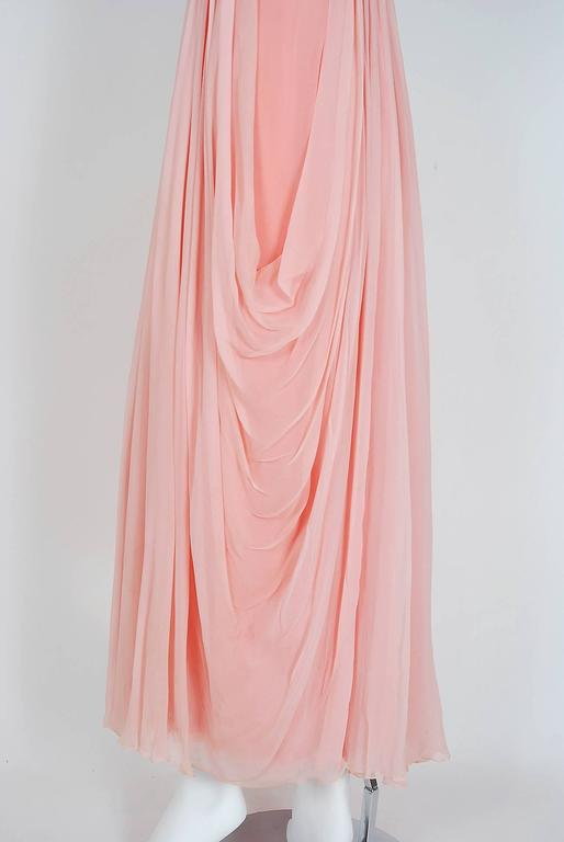 1960's Helen Rose Beaded Rhinestone Pink Chiffon Draped Grecian Goddess Dress For Sale 1