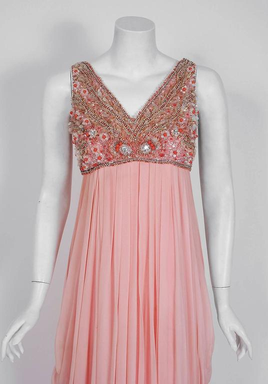Beige 1960's Helen Rose Beaded Rhinestone Pink Chiffon Draped Grecian Goddess Dress For Sale