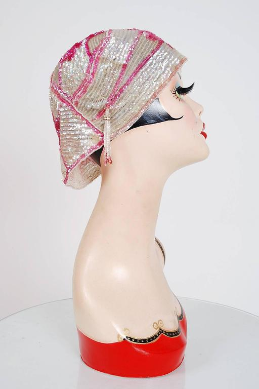 1920's Opalescent Pink Floral-Motif Sequin Beaded Flapper Cloche Hat Headpiece 5