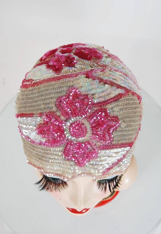 1920's Opalescent Pink Floral-Motif Sequin Beaded Flapper Cloche Hat Headpiece 3