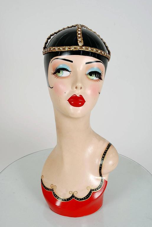 1920's Rhinestone & Metallic-Gold Brass Flapper Art-Deco Juliet Cap Headpiece 6