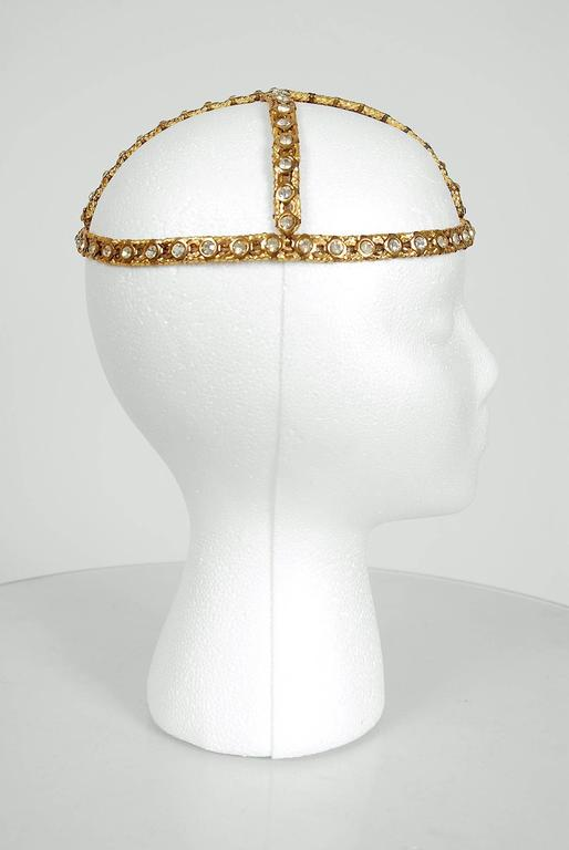 1920's Rhinestone & Metallic-Gold Brass Flapper Art-Deco Juliet Cap Headpiece 3