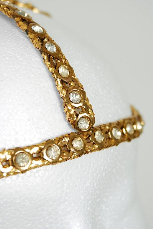 1920's Rhinestone & Metallic-Gold Brass Flapper Art-Deco Juliet Cap Headpiece 4