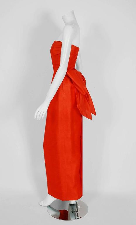 1983 Christian Dior Haute-Couture Orange Strapless Pleated Silk Hourglass Gown 3