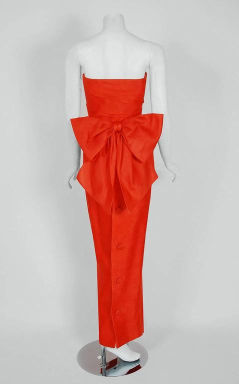 1983 Christian Dior Haute-Couture Orange Strapless Pleated Silk Hourglass Gown 4