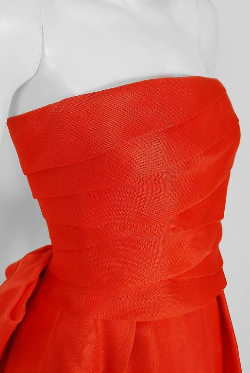 1983 Christian Dior Haute-Couture Orange Strapless Pleated Silk Hourglass Gown 2