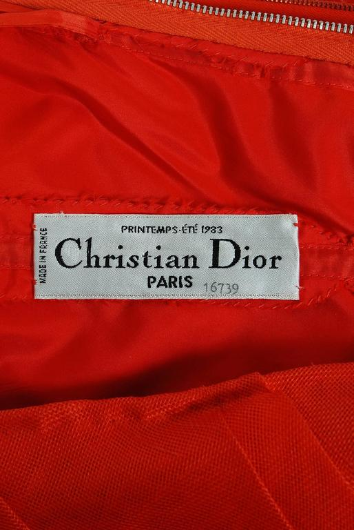 1983 Christian Dior Haute-Couture Orange Strapless Pleated Silk Hourglass Gown 5
