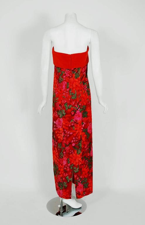 1960's Bob Bugnand Watercolor Red & Orange Floral Flocked Satin Strapless Gown  For Sale 1