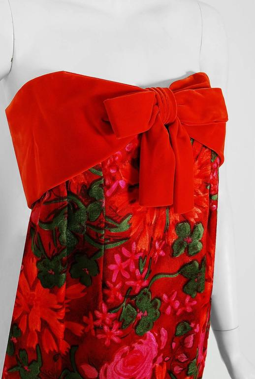 Women's 1960's Bob Bugnand Watercolor Red & Orange Floral Flocked Satin Strapless Gown  For Sale
