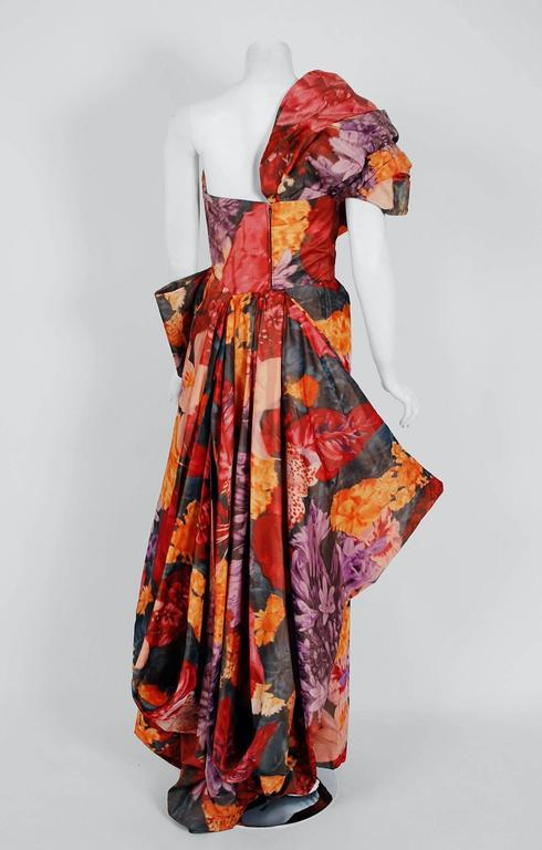 1950's Couture Watercolor Floral Print Silk One-Shoulder Draped Hourglass Gown  5