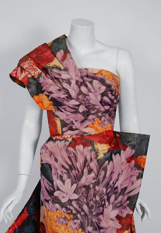 1950's Couture Watercolor Floral Print Silk One-Shoulder Draped Hourglass Gown  2