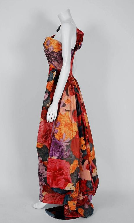 1950's Couture Watercolor Floral Print Silk One-Shoulder Draped Hourglass Gown  4