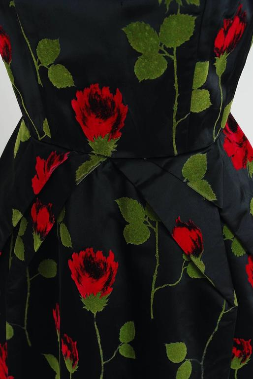 1950's Serge Sinclair Paris Couture Red-Roses Flocked Satin Sculpted Dress 3