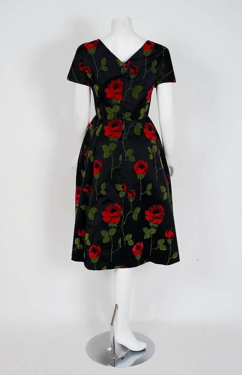 1950's Serge Sinclair Paris Couture Red-Roses Flocked Satin Sculpted Dress 5
