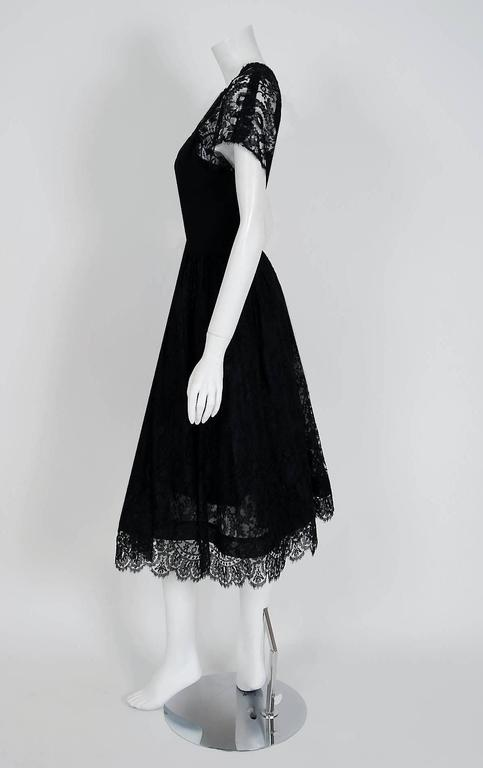 1950's Pauline Trigere Black Illusion Lace & Wool Crepe Cocktail Party Dress  For Sale 1
