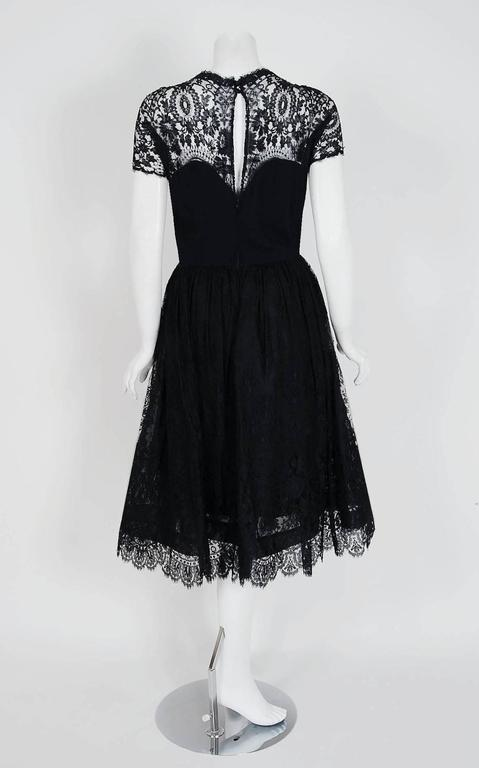 1950's Pauline Trigere Black Illusion Lace & Wool Crepe Cocktail Party Dress  For Sale 2