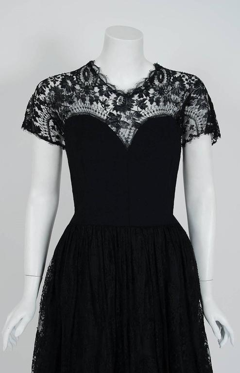 1950's Pauline Trigere Black Illusion Lace & Wool Crepe Cocktail Party Dress  2