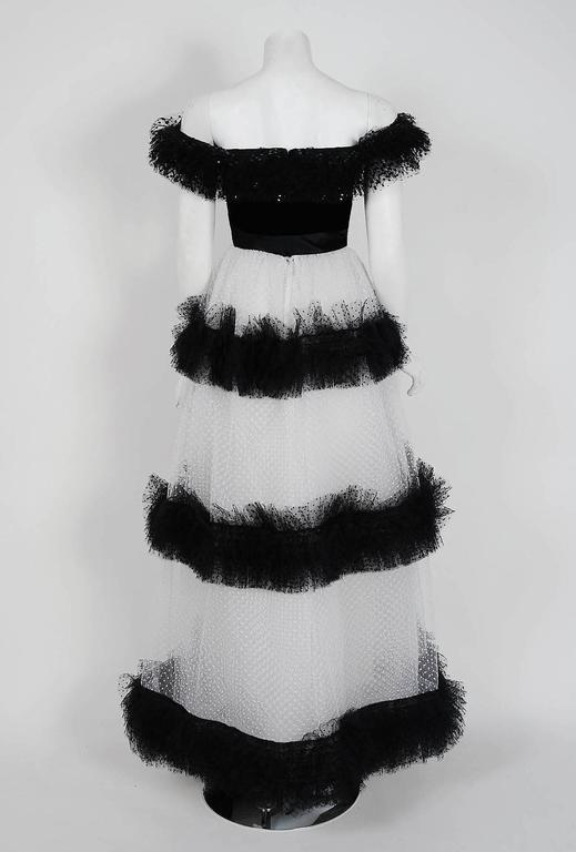 1968 Givenchy Haute-Couture Black & White Sequin Tulle Off-Shoulder Formal Gown 5